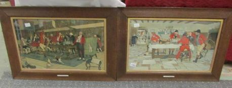A pair of framed and glazed hunting prints.