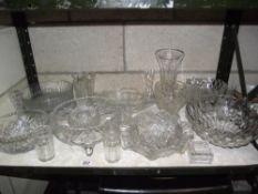 A large selection of moulded glassware including fruit bowls etc.