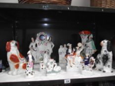 A selection of Victorian Staffordshire pottery figures,