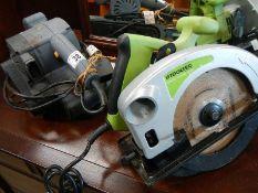A hand sander and a 1200w circular saw.