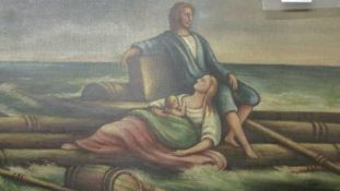 A 19th century unframed oil on canvas 'Shipwrecked Family Adrift at Sea', 63 x 49.5 cm.