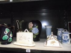 A mixed lot of jugs, vases, 2 cheese dishes etc.