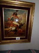A rare framed print on copper of Lord Cardigan at the Charge of the Light Brigade.