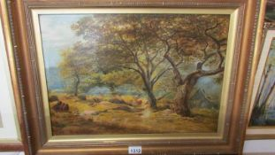 A good Victorian oil on canvas in gilt frame 'Deer in Woodland', signed but underneath frame,