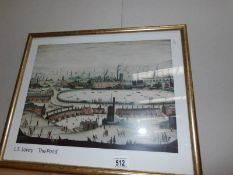 A framed and glazed print by Lowry entitled 'The Pond'.