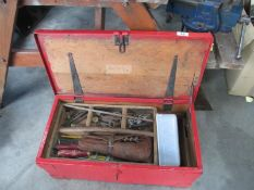 A pine tool chest and contents