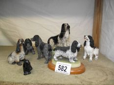 A selection of cocker spaniel dog ornaments.