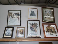 7 framed and glazed embroideries including USA native Indian designs.