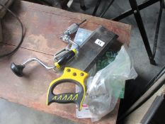A metal table and mitre saw