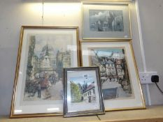 4 framed and glazed pictures including print of St.