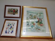 3 framed and glazed prints of cats including one signed Louis Wain.