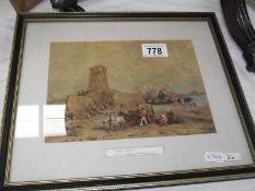 4 framed and glazed prints, portrait, landscape etc.