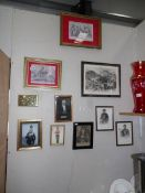 A collection of framed and glazed military portraits and pictures including Wellington,