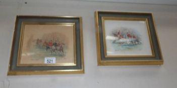 """A pair of framed and glazed hunting related watercolours """"Gone Away"""" and """"Going to Covert"""" signed B."""