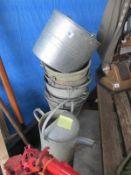 A quantity of galvanised buckets etc