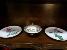 A German porcelain lidded dish and 2 German plates.