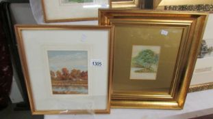 A 19th century English school watercolour 'Figures under the Trees on Riverbank' and a watercolour