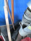 Three old grain shovels