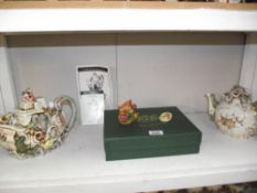 2 Harmony Kingdom teapots - 1999 Royal Watch Club and Year of the Garden.