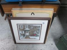 Two botaalical limited edition prints and a signed Christmas house limited edition print