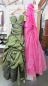 2 bridesmaid/prom dresses/gowns, olive size 12, fuschia size 12.