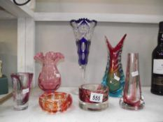 5 items of coloured glass including blue vase,