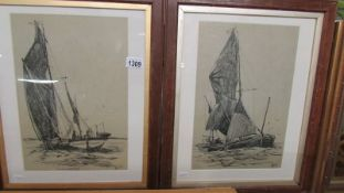A pair of good charcoal drawings of ships under sail in oak frames, signed but indistinct,