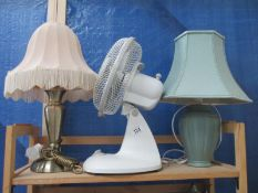 An electric fan and two standard lamps