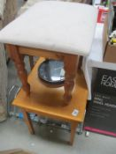 A small occasional table and a pine stool