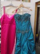 3 bridesmaid/prom dresses/gowns, green size 10, Light pink size 10 and dark pink,