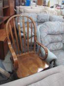 An oak rocking chair