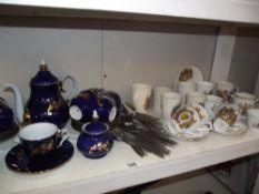 A blue & gilt continental coffee/tea set,
