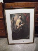 A framed and glazed portrait print of Sir Joseph Banks 1743-1820 after Benjamin West,