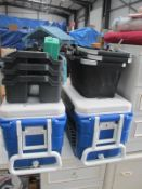 Two large plastic boxes,