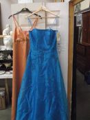 2 Bridesmaids/prom dresses/gowns, deep turquoise size 10, peach no size (possibly 12).