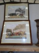 2 framed and glazed limited edition prints of steam farming scenes by Robin Wheeldon, 2004.