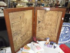 A 19th century French tapestry 2 panel screen in an oak frame, 62cm tall, each panel 38cm wide,