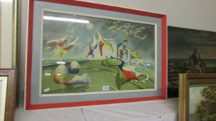 A framed and glazed abstract signed John Turnnard '47. Image 69 x 41 cm.