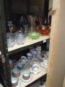 2 shelved of coloured glass including art deco trinket set, Carnival glass dish,