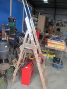 Old wooden step ladders x 2