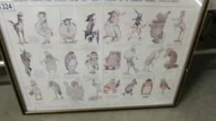 A framed and glazed centre pages from Illustrated London News 1923 being Dickens characters from