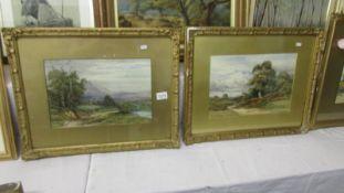 A pair of Victorian landscape painting signed L G Freck images 36 x 35 cm.