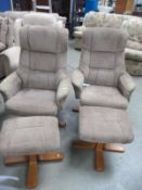 A pair of swivel chairs and two pouffes