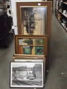 A mixed lot of pictures including oils on canvas, limited edition prints etc.