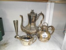 A 19th century silver plated coffee pot, teapot, jug etc.
