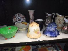 A Staffordshire blue pottery cheese dish, Beswick leaf bowl etc.