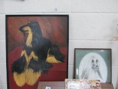 An original oil on board of an Afghan hound by G Brennan and two other Afghan hound pictures