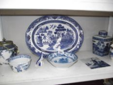 A mixed lot of blue and white pottery, Carlton ware, Royal Dux etc.