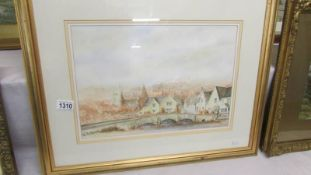 A framed and glazed watercolour 'Castle Combe Town Bridge', signed David Webb. image 40 x 28 cm.