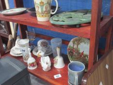Two shelves of china including Aynsley and Chokin plate etc